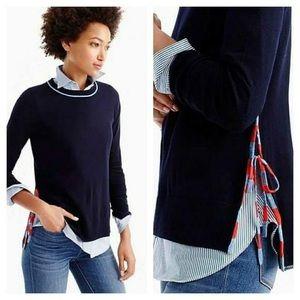 J. Crew Side-Slit Sweater With Striped Ties XXS